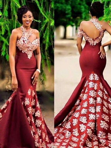 Beautiful Prom Dresses One Shoulder Mermaid Burgundy Chic Prom Dress JKL1022|Annapromdress