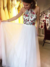 A Line Prom Dresses High Neck Embroidery Floral Beautiful Prom Dress JKL1023|Annapromdress