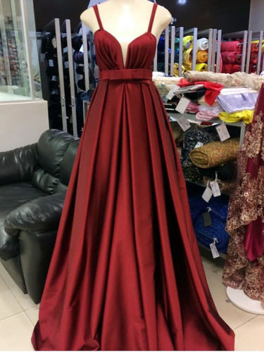 Simple Prom Dresses Straps A-line Long Burgundy Cheap Prom Dress JKL1026|Annapromdress