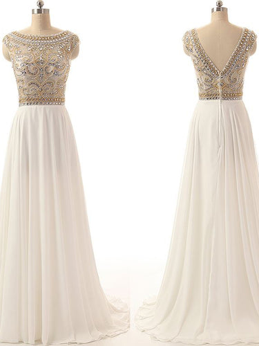 Sparkly Prom Dresses Bateau Short Train Chiffon Aline Prom Dress JKL1033|Annapromdress