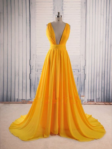Simple Prom Dresses Straps A-line Sweep Train Long Cheap Prom Dress JKL1036|Annapromdress