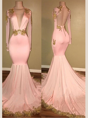 Open Back Prom Dresses Mermaid Long Pink Prom Dress Sexy Evening Dress JKL1037|Annapromdress