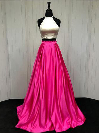Two Piece Prom Dresses A-line Simple Cheap Prom Dress Sexy Evening Dress JKL1040|Annapromdress