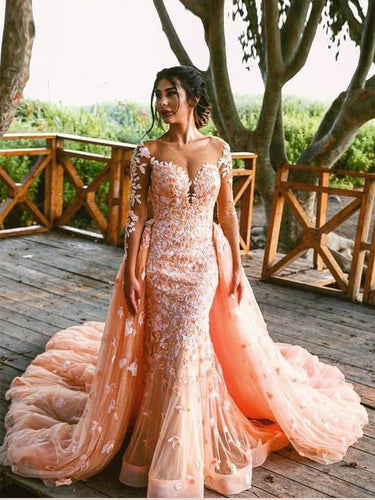 Lace Prom Dresses Mermaid Sweep Train Sparkly Long Sleeve Prom Dress JKL1041|Annapromdress