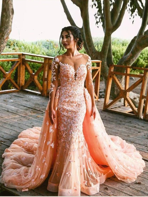 7083301a3aa7 Lace Prom Dresses Mermaid Sweep Train Sparkly Long Sleeve Prom Dress  JKL1041|Annapromdress