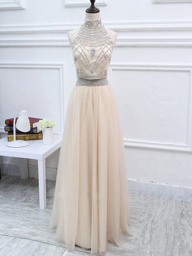 Two Piece Prom Dresses A-line Beading Prom Dress Long Evening Dress JKL1044|Annapromdress