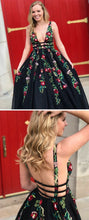 Beautiful Prom Dresses A-line Floor-length Long Black Prom Dress JKL1048|Annapromdress