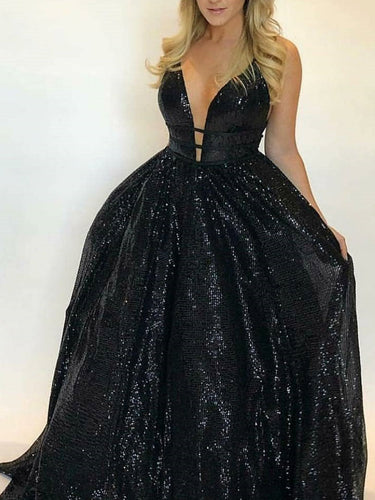 Sparkly Prom Dresses A-line Simple Long Black Prom Dress Sexy Evening Dress JKL1049|Annapromdress