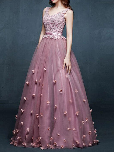 Chic Prom Dresses V-neck Lilac Appliques Long Prom Dress/Evening Dress JKL104