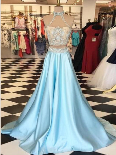 Two Piece Prom Dresses A line High Neck Beautiful Prom Dress Sexy Evening Dress JKL1054|Annapromdress