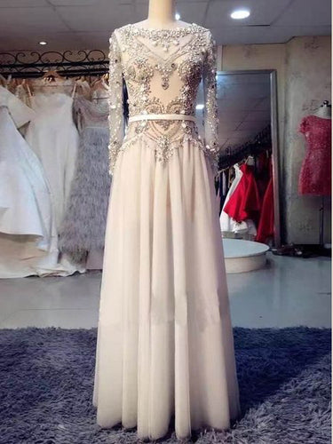 Long Sleeve Prom Dresses Bateau A-line Rhinestone Sparkly Long Prom Dress JKL1055|Annapromdress