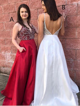 Sparkly Backless Prom Dresses Spaghetti Straps V-neck Long Rhinestone Prom Dress JKL1056|Annapromdress