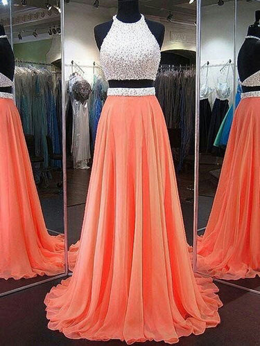 Two Piece Prom Dresses Halter A-line Beading Open Back Sparkly Long Prom Dress JKL1058|Annapromdress