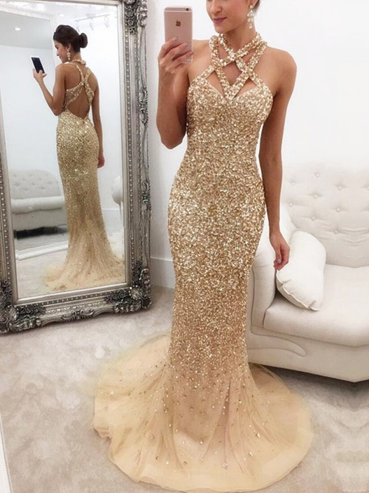 Luxury Sparkly Prom Dresses Rhinestone Halter Sheath Long Sexy Prom Dress JKL1059|Annapromdress