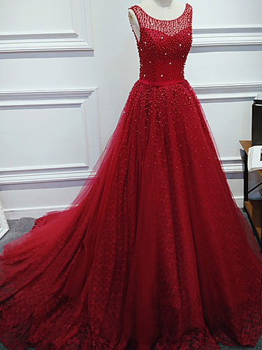 Red Lace Prom Dresses Beading Sweep/Brush Train Prom Dress/Evening Dress JKL105