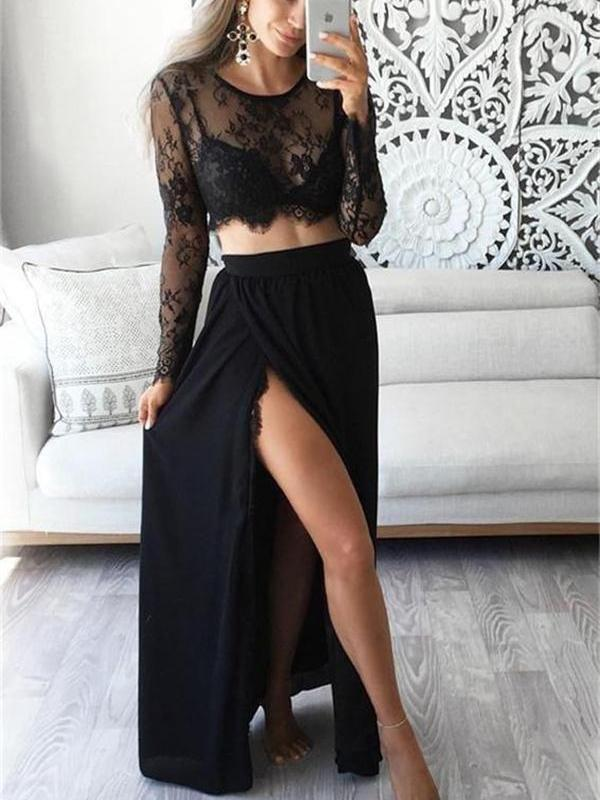 Two Piece Prom Dresses Black Slit Lace Aline Long Sexy Cheap Prom
