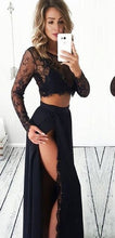 Two Piece Prom Dresses Black Slit Lace Aline Long Sexy Cheap Prom Dress JKL1060|Annapromdress