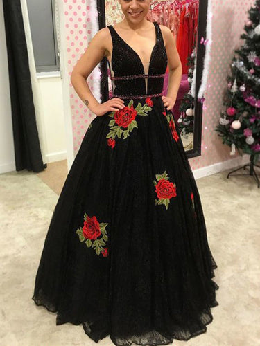 Black Prom Dresses A line Straps Beautiful Prom Dress Sexy Evening Dress JKL1061|Annapromdress