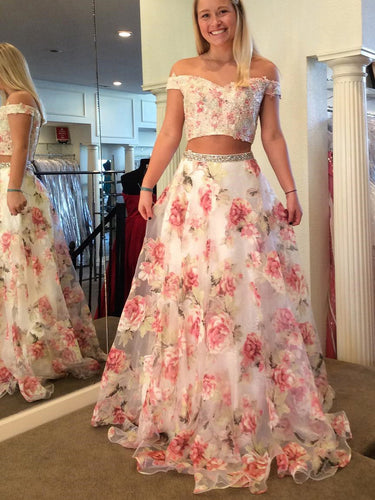 Two Piece Prom Dresses Rose Floral Print Beautiful Prom Dress Sexy Evening Dress JKL1062|Annapromdress