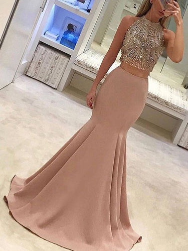 Two Piece Prom Dresses High Neck Long Beading Mermaid Sparkly Prom Dress JKL1064|Annapromdress