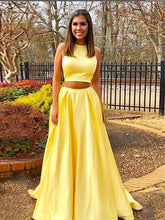Two Piece Prom Dresses A line Simple Cheap Prom Dress Yellow Evening Dress JKL1065|Annapromdress