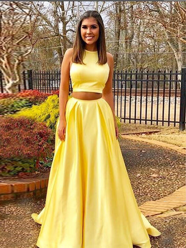 e9a9a8570b Two Piece Prom Dresses A line Simple Cheap Prom Dress Yellow Evening Dress  JKL1065