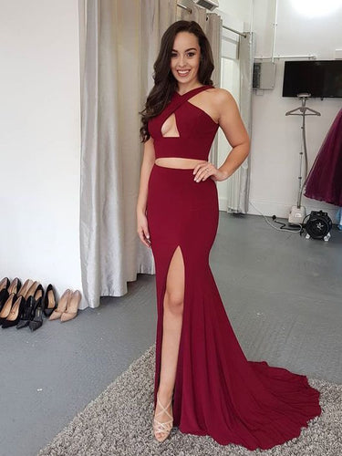 Two Piece Prom Dresses Trumpet Mermaid Burgundy Long Slit Cheap Prom Dress JKL1066|Annapromdress