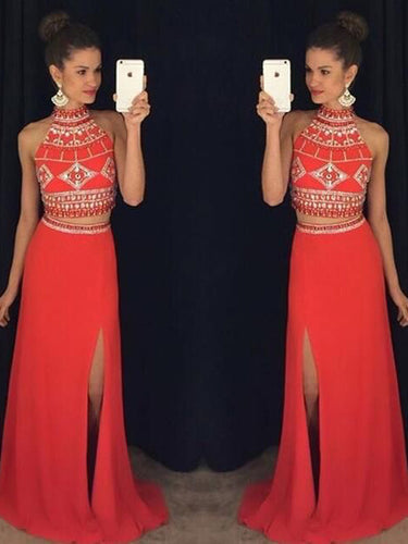 Two Piece Prom Dresses Sheath Column Halter Slit Prom Dress Sexy Evening Dress JKL1069|Annapromdress