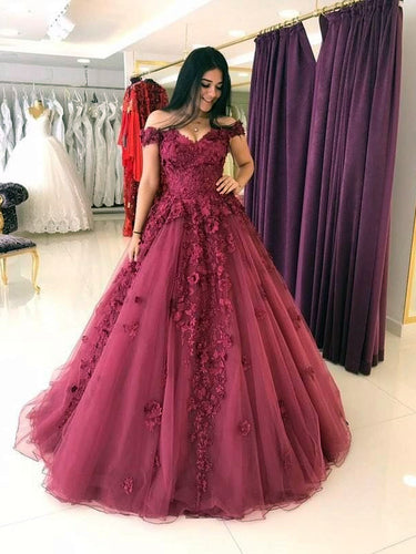 Beautiful Prom Dresses Off-the-shoulder Tulle Long Prom Dress/Evening Dress JKL106