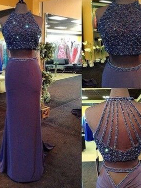 Sparkly Two Piece Prom Dresses Column Rhinestone Sweep Train Long Prom Dress JKL1070|Annapromdress