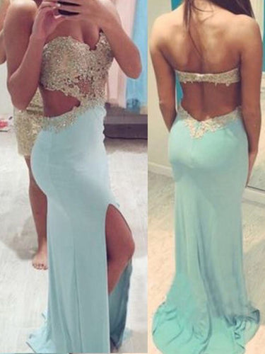 Open Back Prom Dresses Sweetheart Slit Jersy Sheath Long Sexy Prom Dress JKL1071|Annapromdress