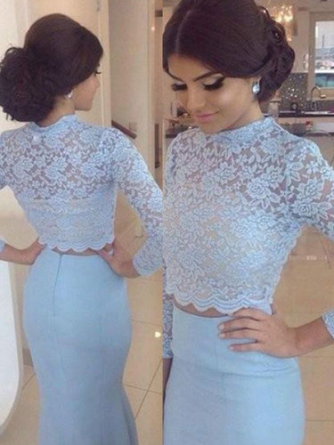 Long Sleeve Two Piece Prom Dresses Mermaid Prom Dress Lace Evening Dress JKL1072|Annapromdress
