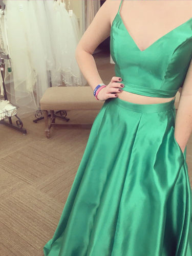 Two Piece Prom Dresses Spaghetti Straps Hunter Green Aline Long Prom Dress JKL1078|Annapromdress