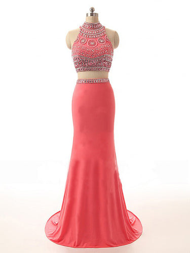 Two Piece Prom Dresses Mermaid Rhinestone Watermelon Long Sparkly Prom Dress JKL1084|Annapromdress