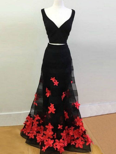 Two Piece Prom Dresses Hand-Made Flower Straps Chic Long Black Prom Dress JKL1087|Annapromdress