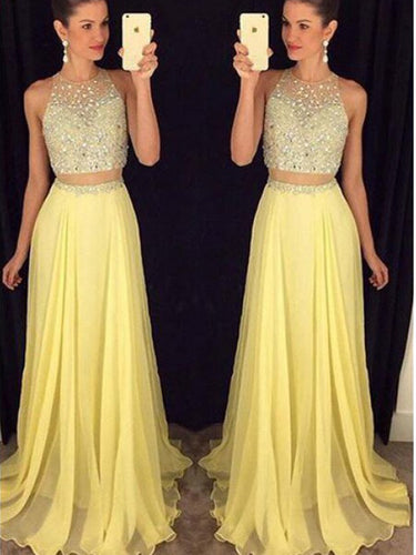 Two Piece Prom Dresses A Line Rhinestone Yellow Long Sparkly Prom Dress JKL1088|Annapromdress