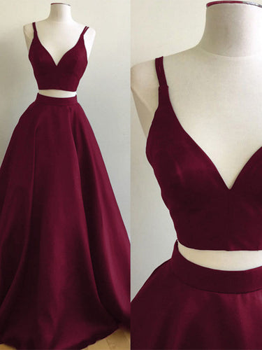 Two Piece Prom Dresses Straps Burgundy Satin Prom Dress/Evening Dress JKL108