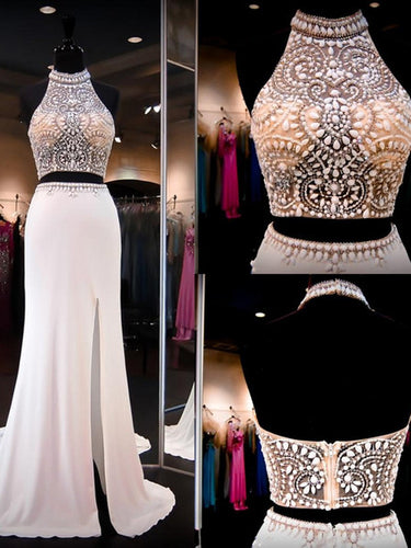 Two Piece Prom Dresses Sheath Rhinestone Halter Slit Prom Dress Sexy Evening Dress JKL1090|Annapromdress