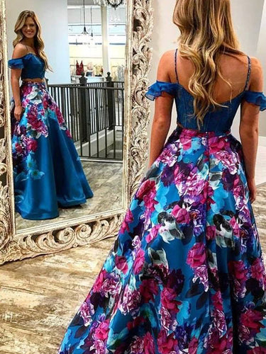 Two Piece Prom Dresses Floral Print Spaghetti Straps Prom Dress Long Evening Dress JKL1093|Annapromdress