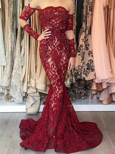 Long Sleeve Mermaid Prom Dresses Lace Chic Short Train Burgundy Prom Dress JKL1094|Annapromdress