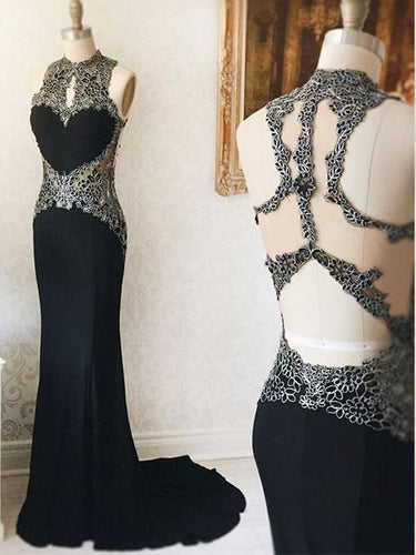 Black Prom Dresses Appliques High Neck Sheath Column Long Jersey Sexy Prom Dress JKL1096|Annapromdress