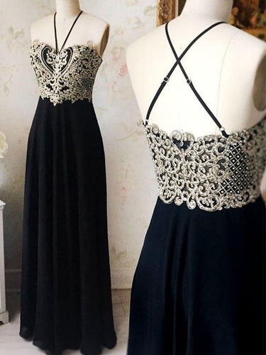 A Line Prom Dresses Appliques Halter Black Long Prom Dress Sexy Evening Dress JKL1097|Annapromdress