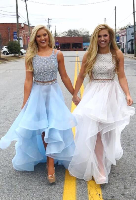 Two Piece Prom Dresses A Line Sparkly High Low Prom Dress Long