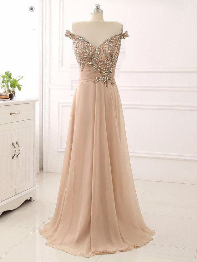 A-line Prom Dresses Beading Rhinestone Off-the-shoulder Long Sparkly Prom Dress JKL1103|Annapromdress