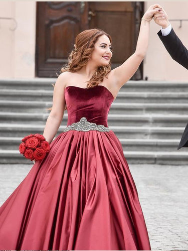 Beautiful Burgundy Prom Dresses Sweep Train Velvet Long A Line Prom Dress JKL1106|Annapromdress