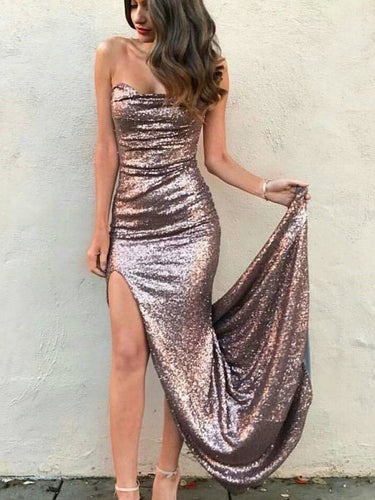 Sparkly Prom Dresses Sheath Short Train Slit Prom Dress Long Evening Dress JKL1108|Annapromdress