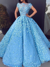 Beautiful Prom Dresses Blue Floral Lace Bateau Long Ball Gown Prom Dress JKL1111|Annapromdress