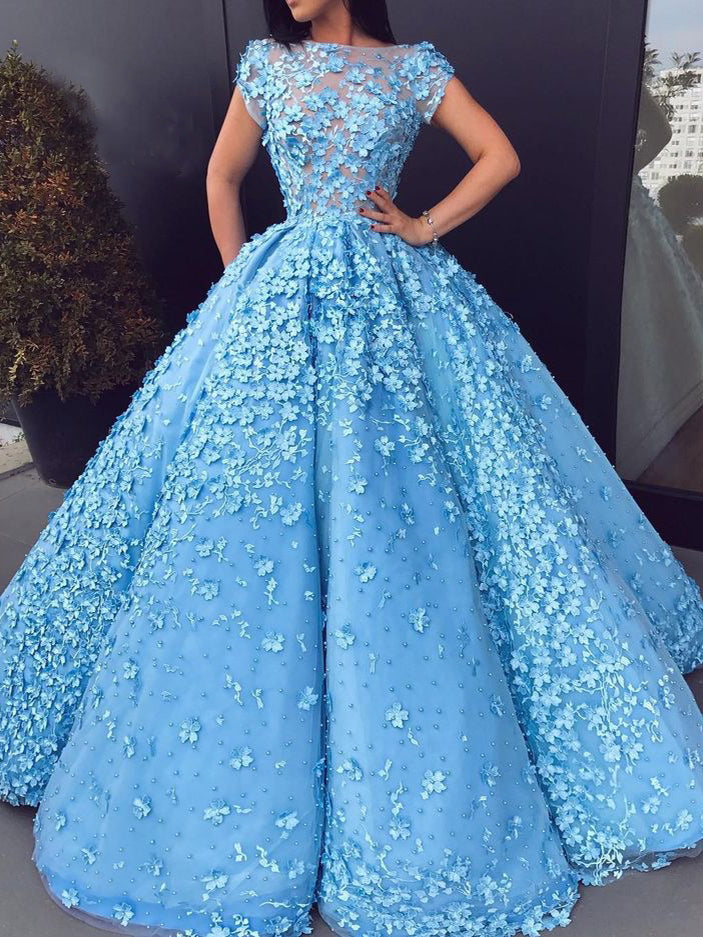 Beautiful Prom Dresses Blue Floral Lace Bateau Long Ball Gown Prom ...