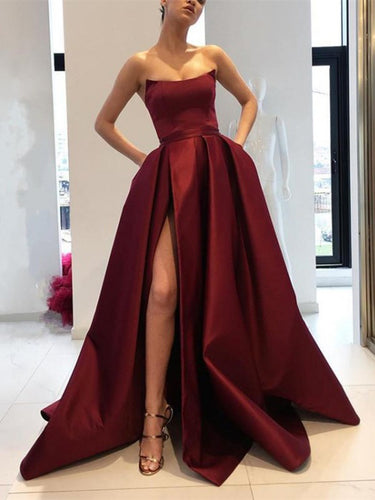 Simple Prom Dresses A Line Strapless Burgundy Slit Prom Dress Sexy Evening Dress JKL1112|Annapromdress