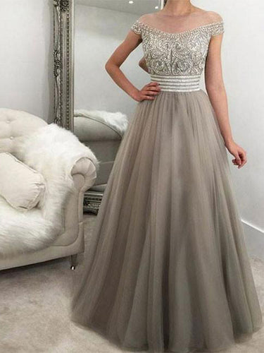 Chic Prom Dresses Bateau A-line Rhinestone Long Prom Dress/Evening Dress JKL111